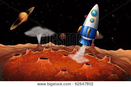 Illustration of an outerspace with a rocket