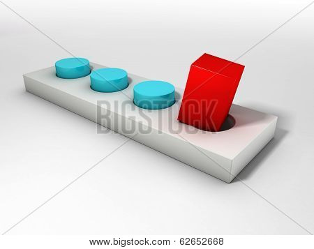 Red square peg and a round hole over bright background