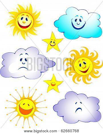 Happy sun, cloud and star cartoon