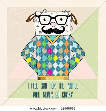 cool sheep hipster hand draw illustration in vector format poster