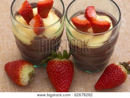 Delicious Pudding And Strawberries For Two People