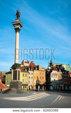 Castle Square And Sigismund's Column in Warsaw