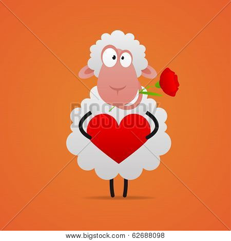 In love sheep smiling and holds heart