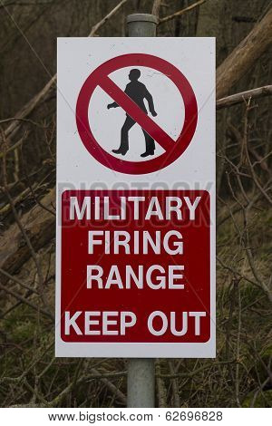 Sign Military Firing Range Keep Out