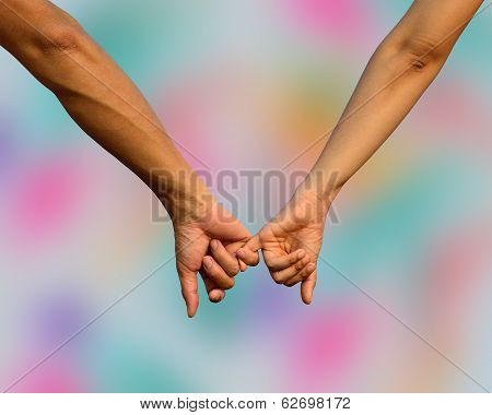 Hand In Hand Together We Can Go Further, Sweet Hands With Fingers Stick Together In Romantic Moment