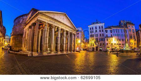 italy, rome, pantheon. night scene