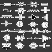 schematic symbols in electrical engineering stickers eps10 poster
