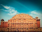 Vintage retro hipster style travel image of Famous Rajasthan landmark - Hawa Mahal palace (Palace of the Winds), Jaipur, Rajasthan poster