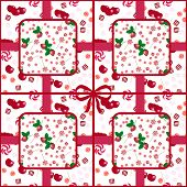 Patchwork seamless candy pattern berries on white background poster