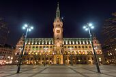 The historic townhall in Hamburg, Germany,  at night poster