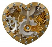 Steampunk clockwork heart concept with a heart shape made of cogs and gears poster