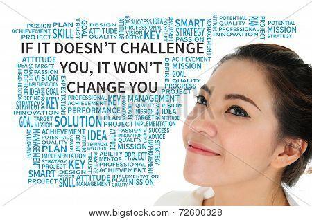 Business quote concept present passion motto