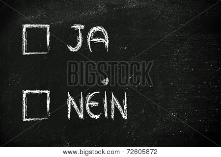Yes or No (Ja oder Nein) to tick in multiple choice test format poster