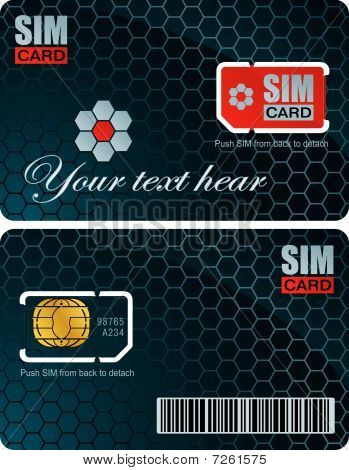 Sim card with carrier vecor template