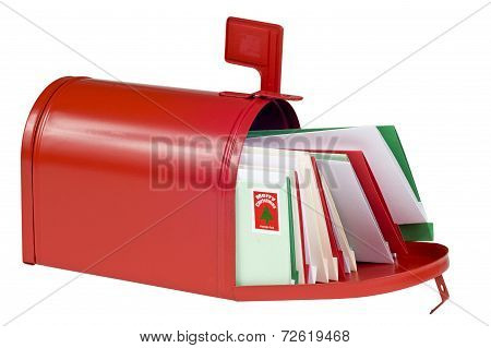 Red Mailbox Full Of Christmas Cards Or Letters