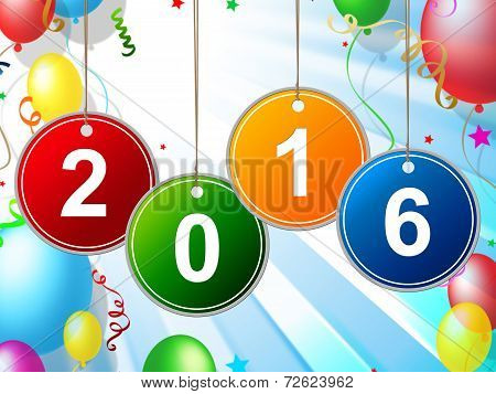 New Year Indicates Two Thousand Sixteen And Annual