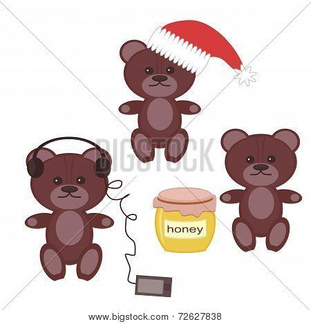 three nice bears on wgite background vector illustration poster