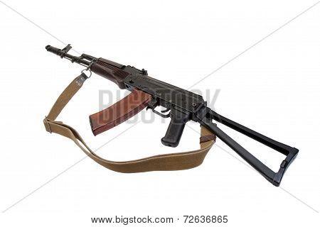 kalashnikov airborne rifle ak isolated on a white background poster