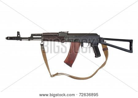 kalashnikov assault rifle ak74 isolated on a white background poster