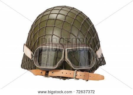 army with goggles helmet isolated on white poster
