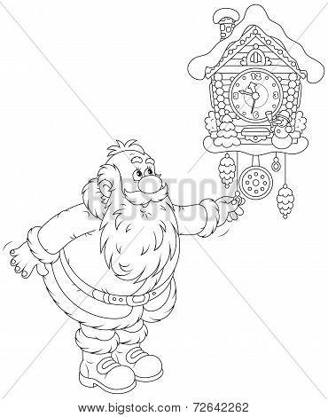 Santa Claus winds a cuckoo-clock