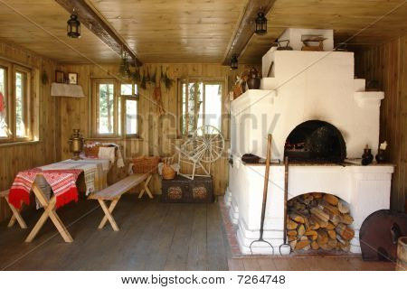 Interior of russian house with traditional oven