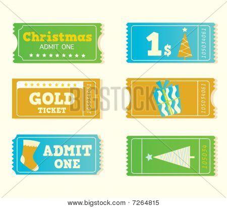 Blue and yellow retro cinema christmas tickets