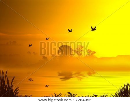 morning sun rising over a lake with mist and birds flying past poster