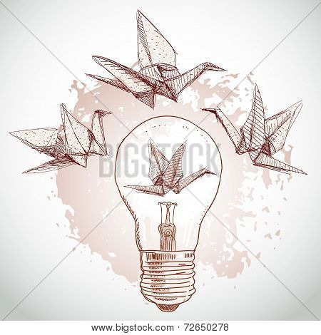 Origami Paper Cranes And Light Sketch. Line On Beige Background.grunge Texture. Vector