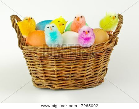 Basket Full Of Colored Eggs