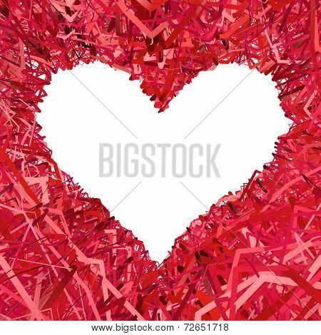 Blank Heart Shaped Frame Composed Of Red Ribbons