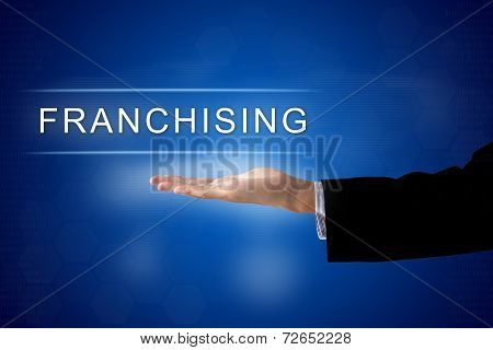 Franchising Button On Virtual Screen