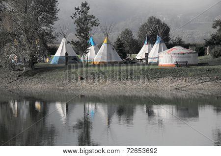 Tent village at the lake