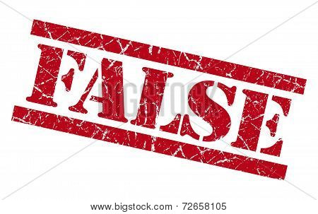 False Red Grungy Stamp Isolated On White Background