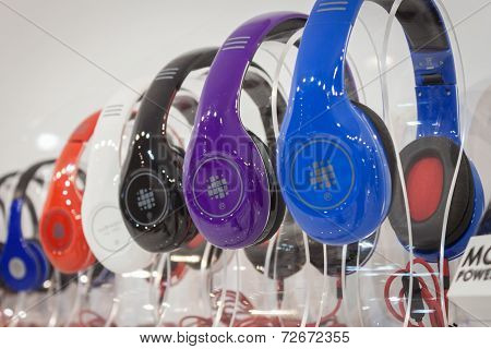 Headphones On Display At Homi, Home International Show In Milan, Italy