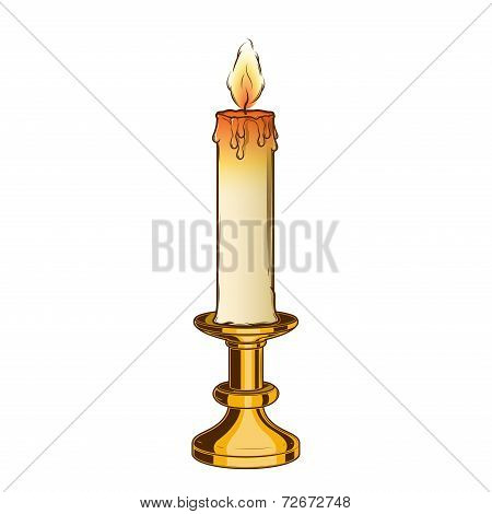 Burning Old Candle And Vintage Brass Candlestick Isolated On A White Background. Color Line Art. Ret
