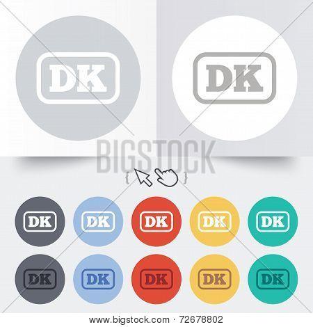Denmark language sign icon. DK translation.