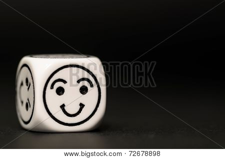 Single Emoticon Dice With Happy Expression Sketch