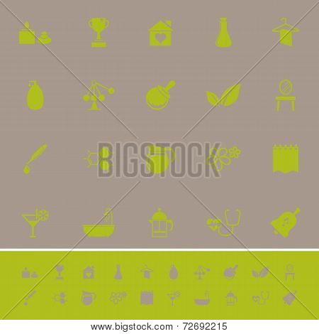 Spa Treatment Color Icons On Gray Background