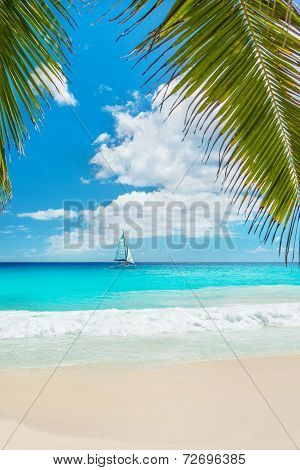 Tropical Beach With Yacht And Palm Leaves. Anse Georgette, Praslin Island, Seychelles