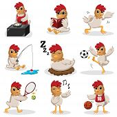 A vector illustration of chicken characters doing different activities poster