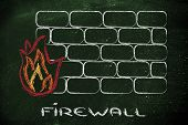 conceptual design with firewall and security of data on the web poster