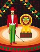 fun Lion and trainer in the circus art vector poster