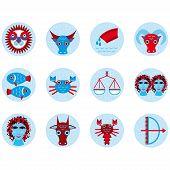 Funny blue zodiac sign icon set astrological illustration poster