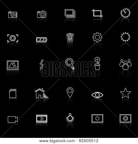 Photography Line Icons With Reflect On Black Background