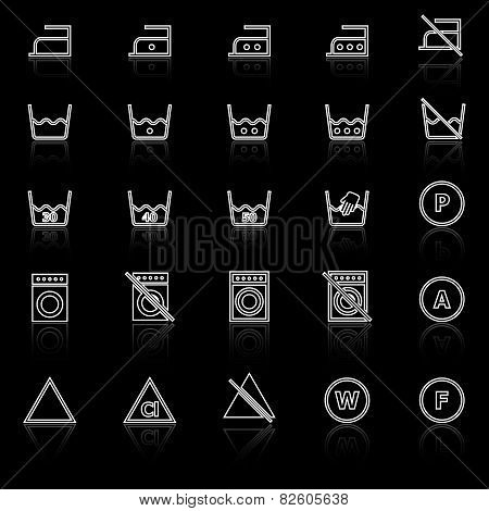 Laundry Line Icons With Reflect On Black Background
