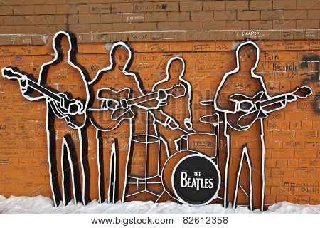 EKATERINBURG, RUSSIA - FEBRUARY 11, 2015: Photo of Monument to The Beatles.