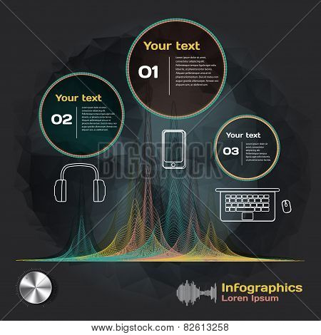 Infographics With Sound Waves And Devices On A Dark Background