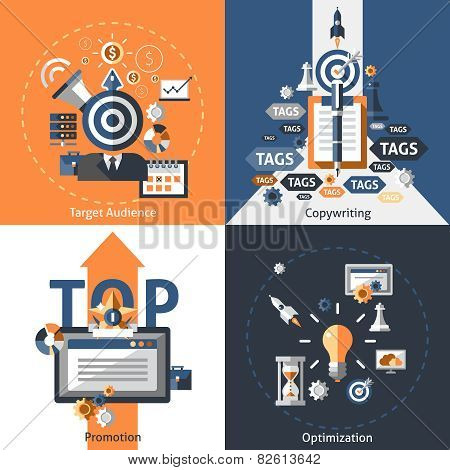 Seo design concept set with target audience copywriting promotion optimization flat icons isolated vector illustration poster