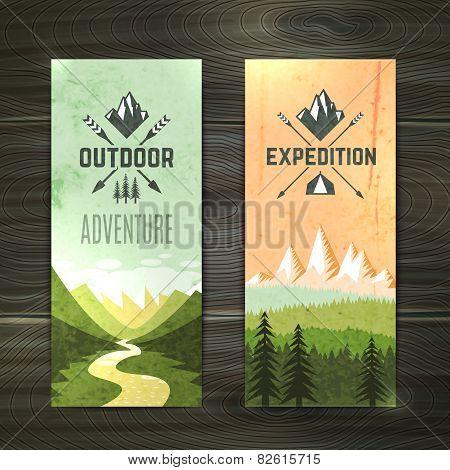 Tourism vertical banners set